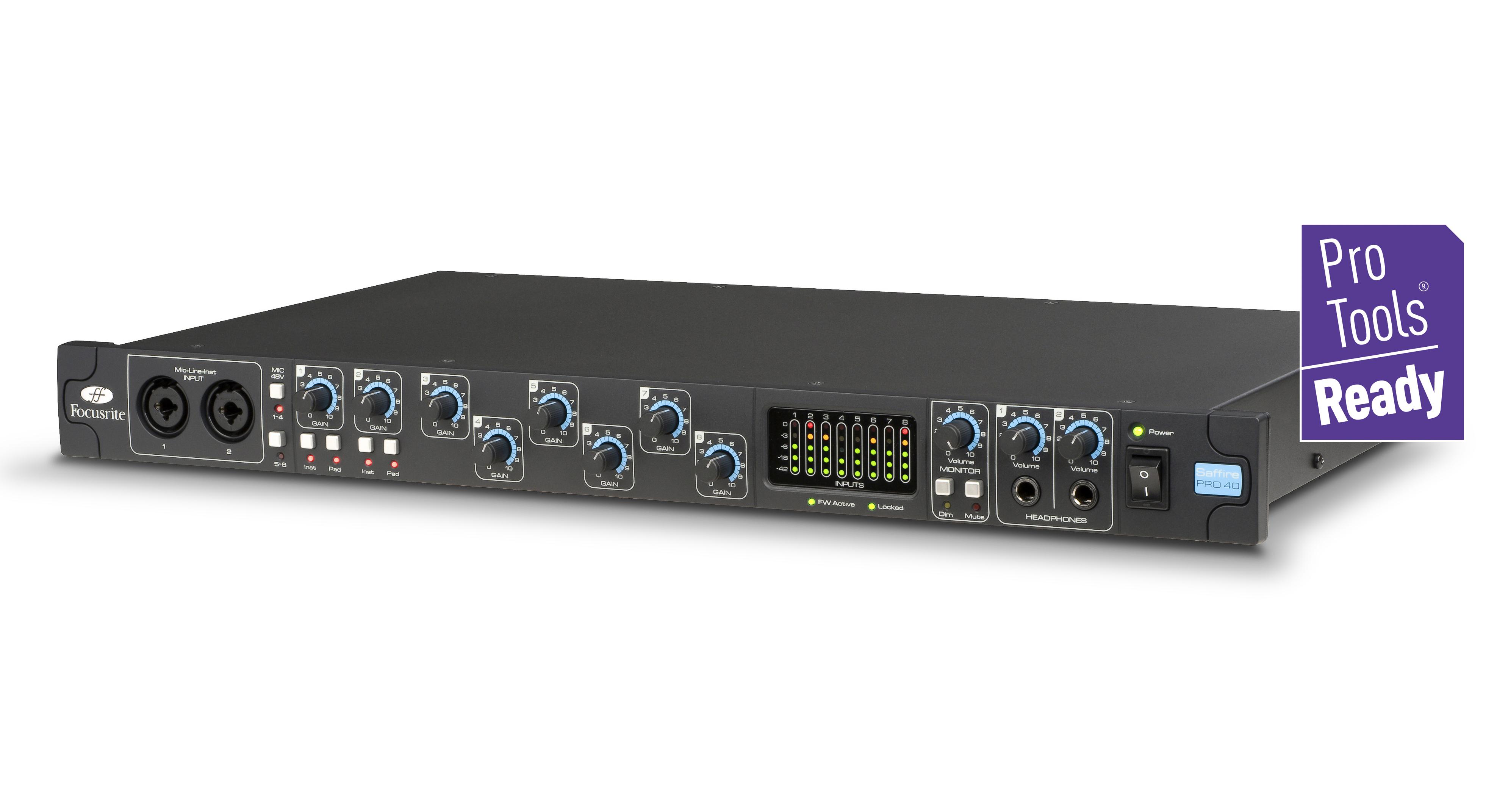 Focusrite Saffire Pro 40 FireWire Audio Interface, 24-bit/96kHz